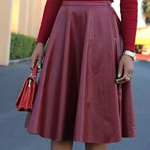 J.O.A. LOS ANGELES red wine  leather  skirt